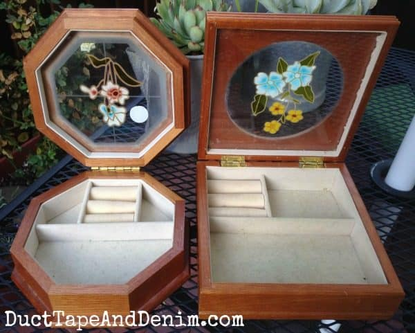 BEFORE photos of jewelry boxes I bought at Goodwill and upcycled with chalky paint | DuctTapeAndDenim.com