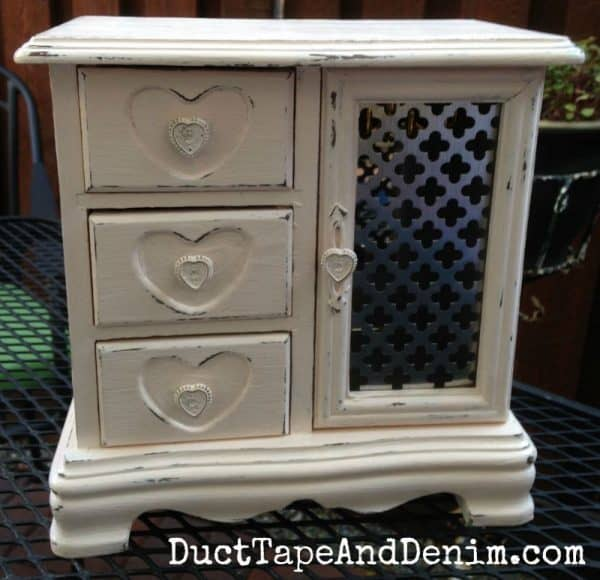 AFTER - Old jewelry cabinet I bought at a thrift store | DuctTapeAndDenim.com