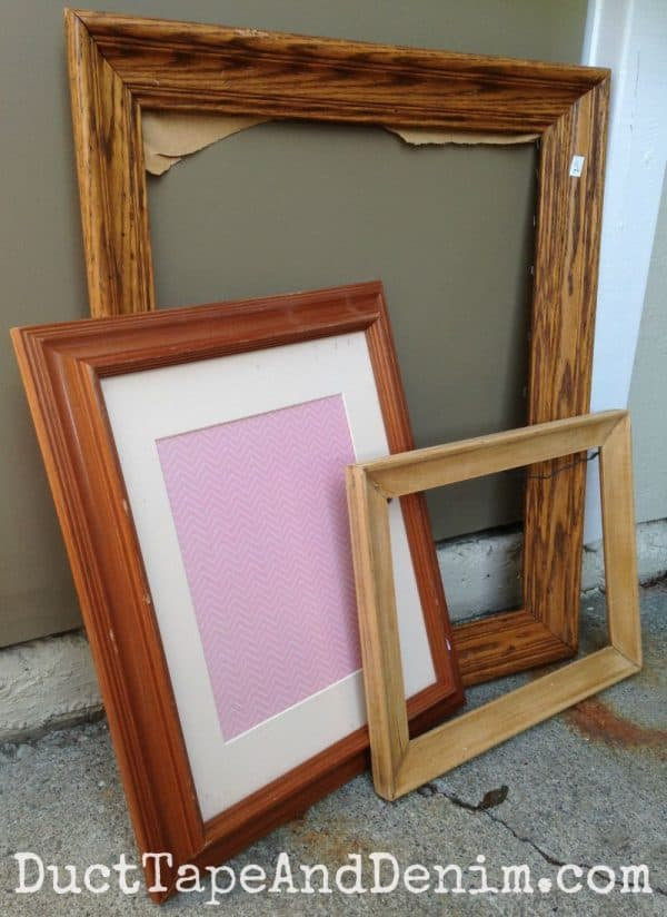 BEFORE - Thrift store frames before I painted them with DecoArt chalky finish paint | DuctTapeAndDenim.com