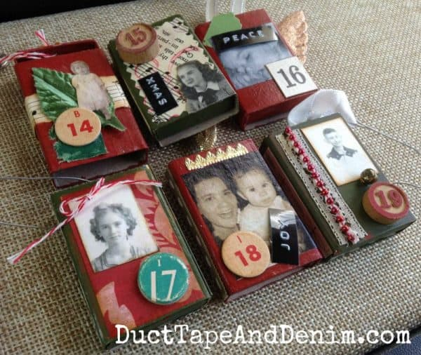 Matchbox Advent calendar with family photos, vintage text and scraps | DuctTapeAndDenim.com