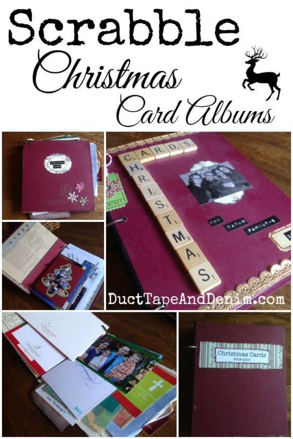 Scrabble Christmas Card Albums - repurposed game boards and boxes create a retro style album | DuctTapeAndDenim.com
