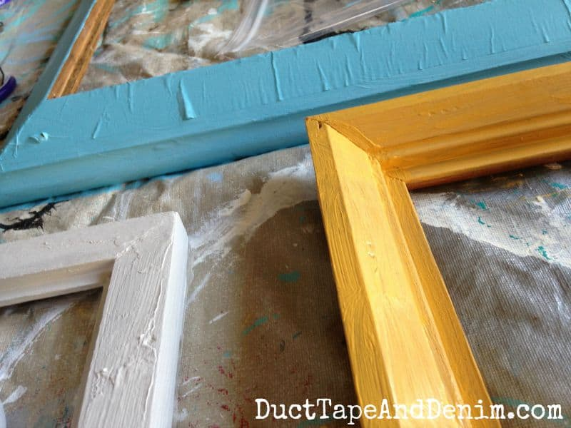 Starting painting the back of the frames | DuctTapeAndDenim.com