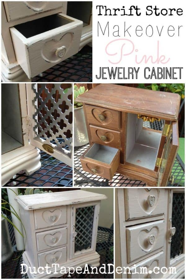 Metal insert in the door of my thrift store makeover jewelry cabinet | DuctTapeAndDenim.com