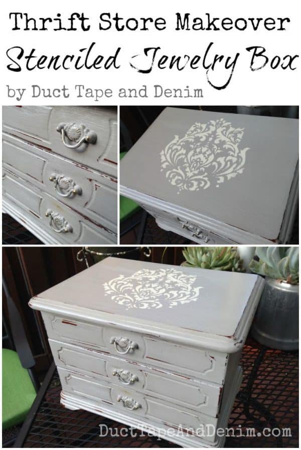 Thrift Store Makeover, stenciled jewelry box