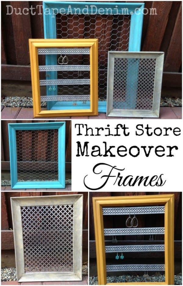 Thrift store makeover frames, three ways | DuctTapeAndDenim.com