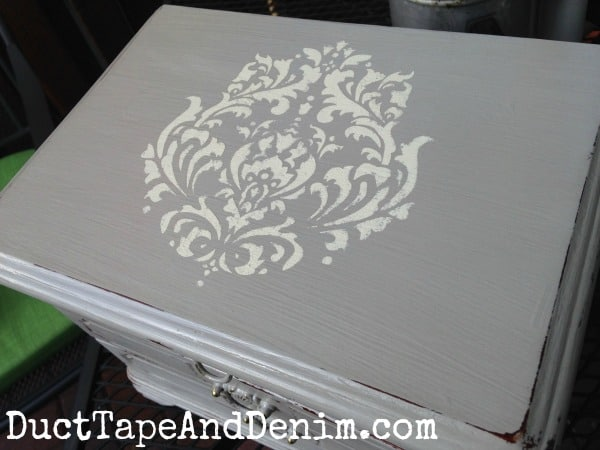 Top of vintage jewelry box painted with CeCe Caldwell's Seattle Mist and stenciled with Vintage White