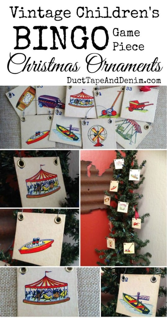 Vintage children's Bingo game card Christmas ornaments | DuctTapeAndDenim.com