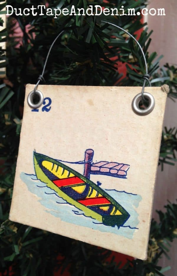 Vintage children's bingo game piece repurposed as Christmas ornament | DuctTapeAndDenim.com