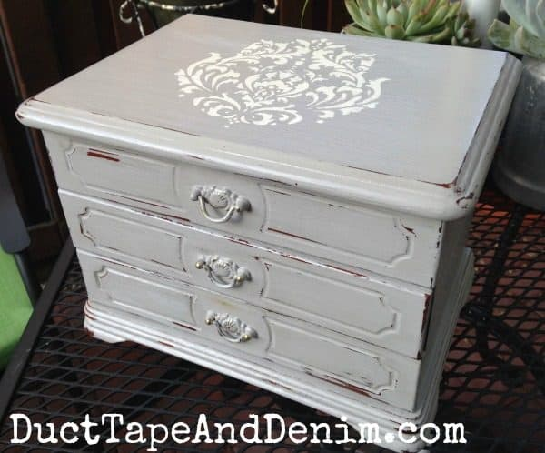 Big jewelry box makeover, DIY thrift store chalk paint DIY project. | DuctTapeAndDenim.com