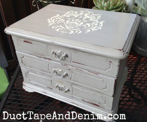 Big Jewelry Box Makeover with Vintage Style Stencil & Gray Chalk Paint