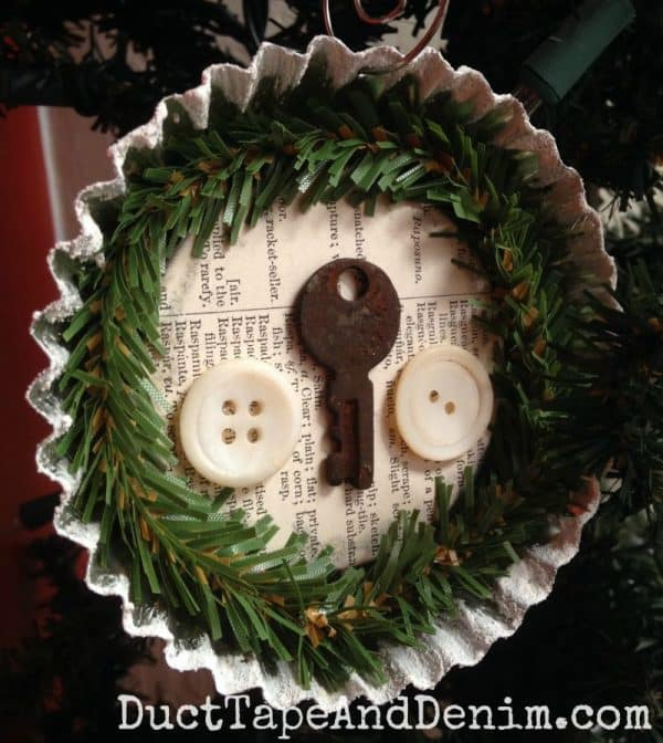 Vintage tart tin Christmas ornament by DuctTapeAndDenim.com