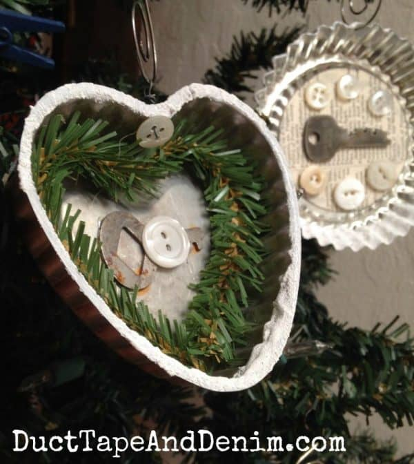 Vintage tart tin Christmas ornaments by DuctTapeAndDenim.com