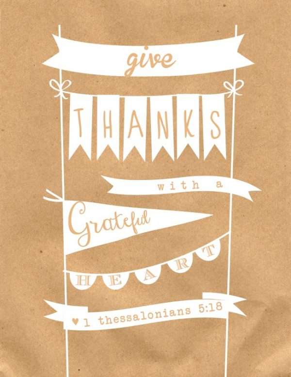 Give thanks with a grateful heart, one of my 25 favorite FREE Thanksgiving printables | DuctTapeAndDenim.com