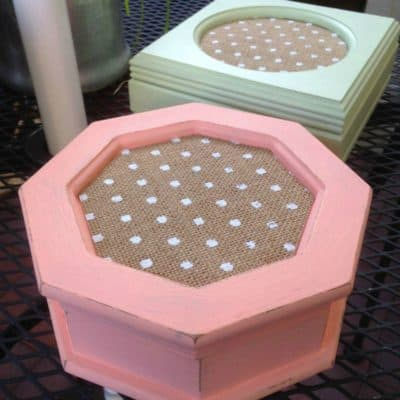 Jewelry Box Makeover with Burlap Paper, Fabric, and Paint
