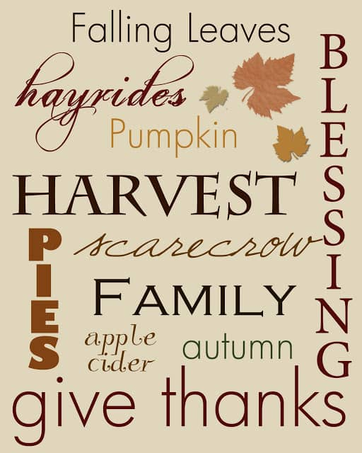 Subway art, one of my 25 favorite FREE Thanksgiving printables on DuctTapeAndDenim.com