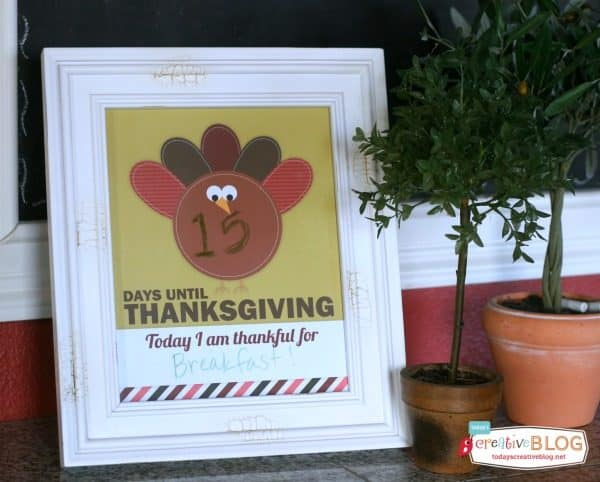 Thanksgiving countdown, one of my favorite FREE kids Thanksgiving printables | DuctTapeAndDenim.com