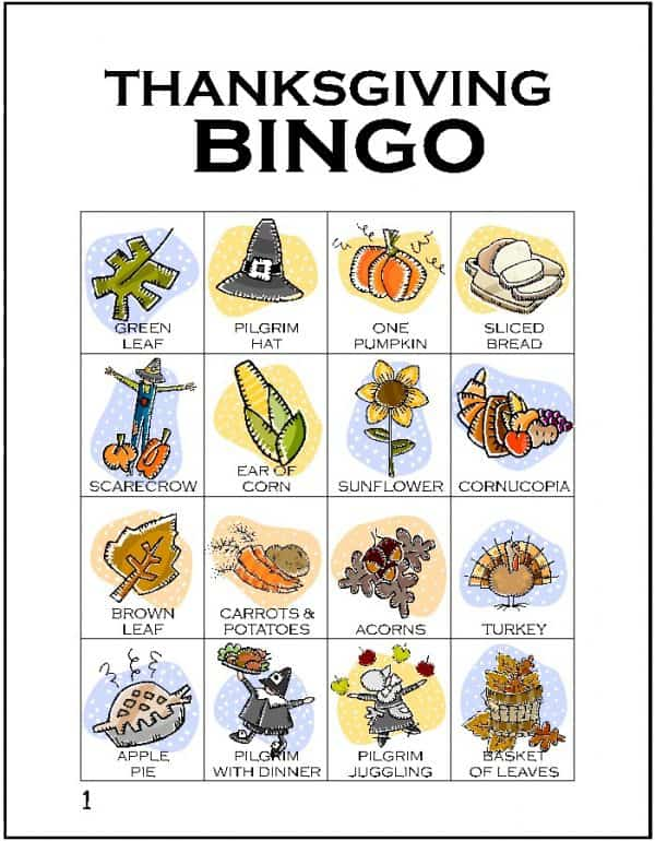 Thanksgiving Bingo, one of my favorite FREE kids Thanksgiving printables | DuctTapeAndDenim.com