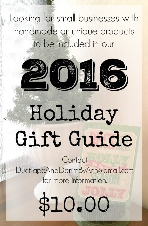 2016 Holiday Gift Guide, contact me if you have a small business with handmade or unique items to be included in our Christmas gift ideas | DuctTapeAndDenim.com