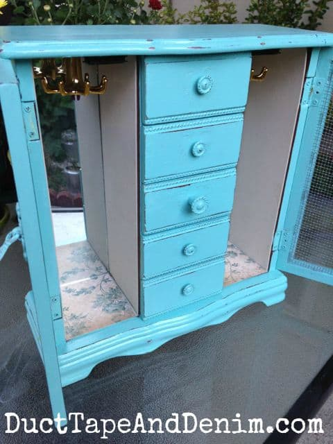 Completed jewelry cabinet, painted turquoise | DuctTapeAndDenim.com