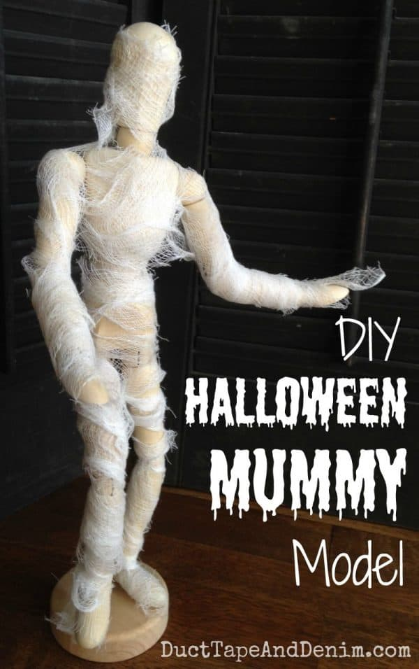 DIY Halloween Mummy Model | DuctTapeAndDenim.com