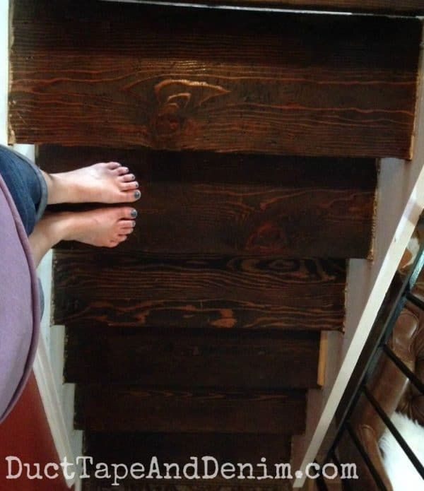 Here's what the stairs looked like after staining   DuctTapeAndDenim.com