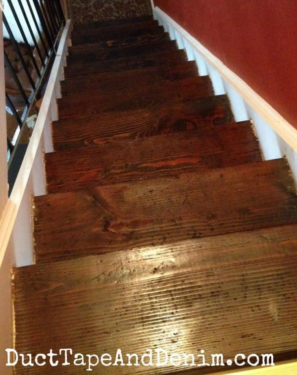 Stairs after staining | DuctTapeAndDenim.com