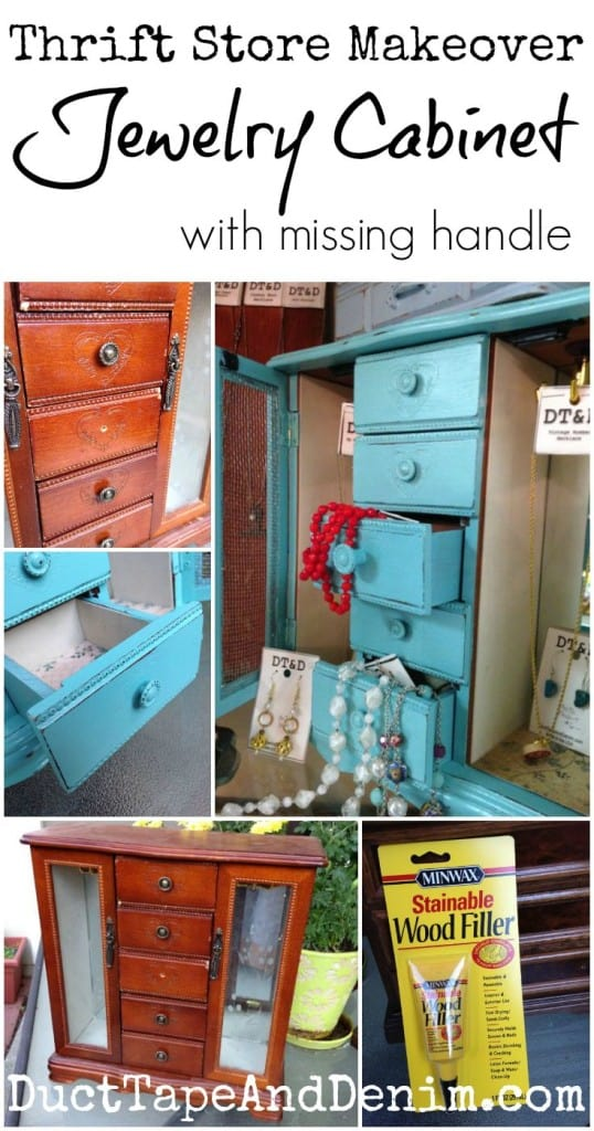 Thrift Store Makeover, jewelry cabinet with missing cabinet | DuctTapeAndDenim.com