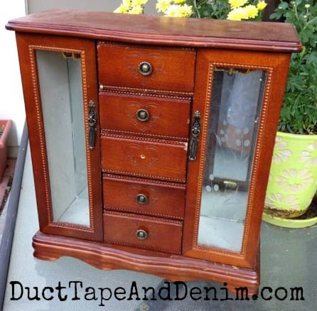 Thrift store jewelry cabinet makeover