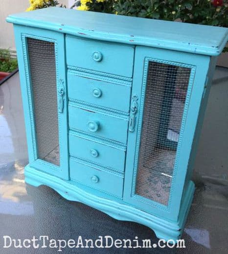 Thrift store makeover, jewelry cabinet painted turquoise | DuctTapeAndDenim.com