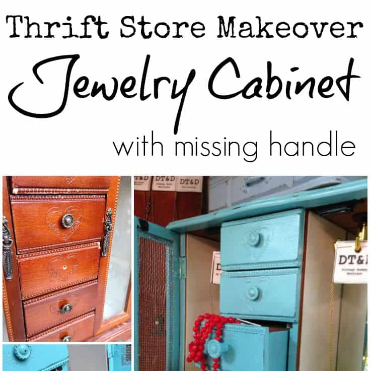 Thrift store makeover, jewelry cabinet with missing handle SQUARE | DuctTapeAndDenim.com