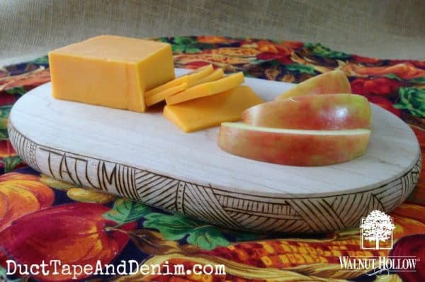 Apples and cheese served on the wood burned cutting board | DuctTapeAndDenim.com