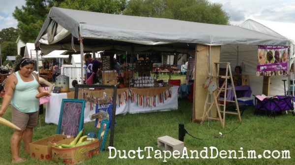Back side of our tent at Antique Alley flea market | DuctTapeAndDenim.com