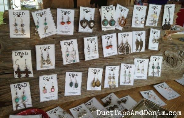 Barn wood earring display | DuctTapeAndDenim.com