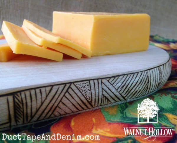 Cheese on the wood burned cutting board | DuctTapeAndDenim.com