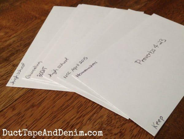 Close up of my Scripture memory cards | DuctTapeAndDenim.com