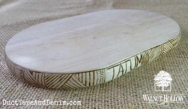 Finished wood burned cutting board | DuctTapeAndDenim.com