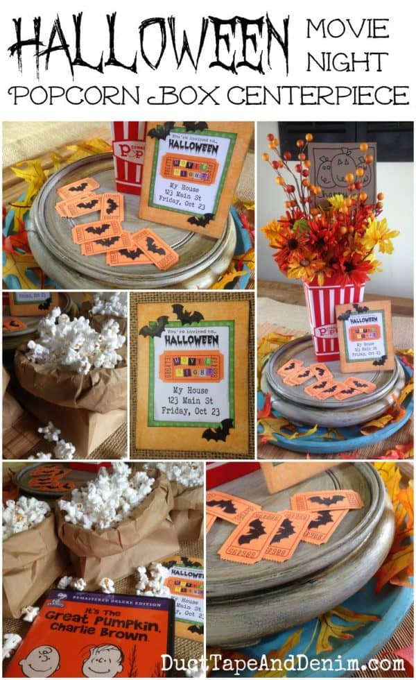 Halloween movie night popcorn box centerpiece on DuctTapeAndDenim.com