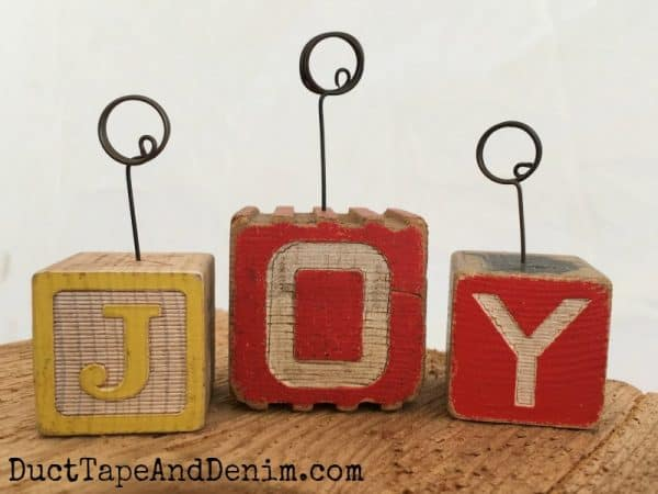 JOY ~ Vintage children's wood block photo holders tutorial | DuctTapeAndDenim.com