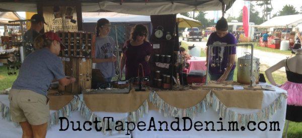 Under our tent at the Antique Alley flea market | DuctTapeAndDenim.com