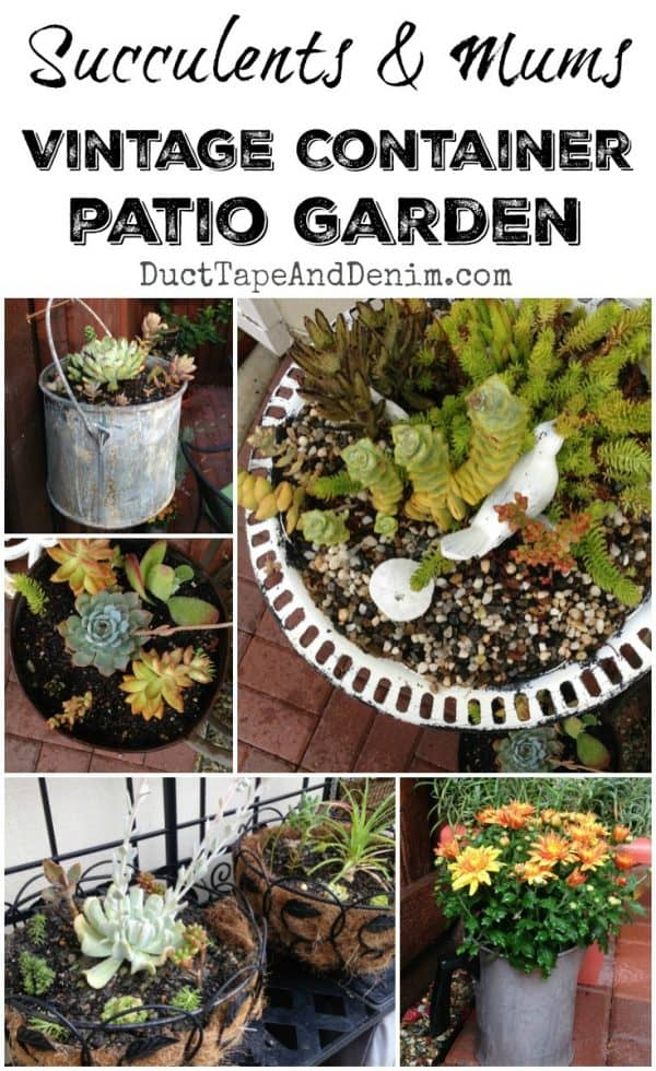 Upcycled vintage container patio garden | DuctTapeAndDenim.com