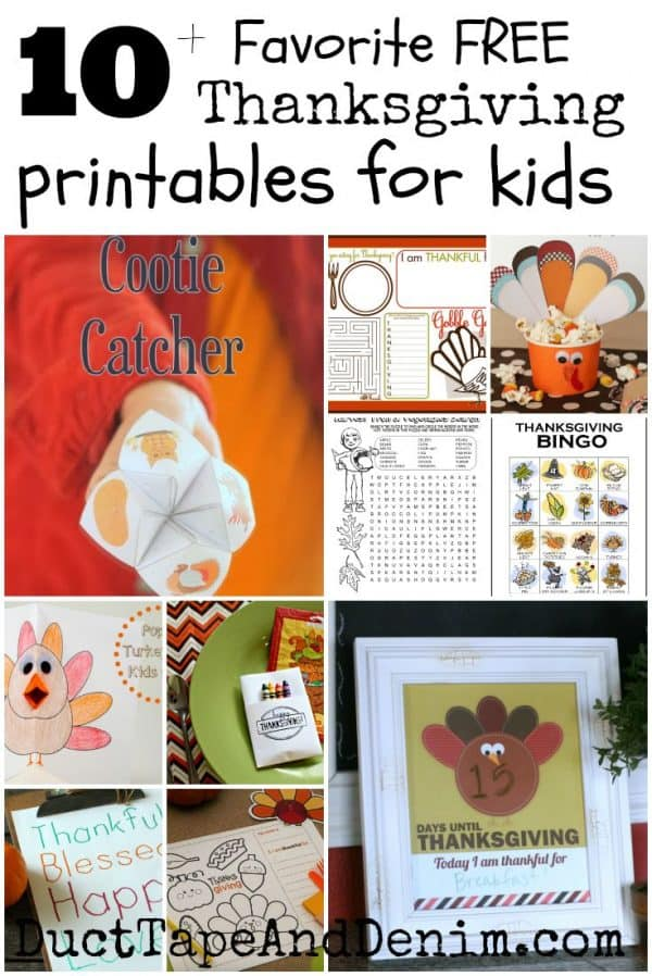 10+ Favorite FREE Thanksgiving Printables for Kids | DuctTapeAndDenim.com
