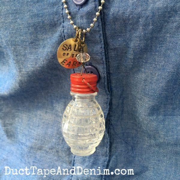 Close up, salt of the earth vintage salt shaker necklace | DuctTapeAndDenim.com