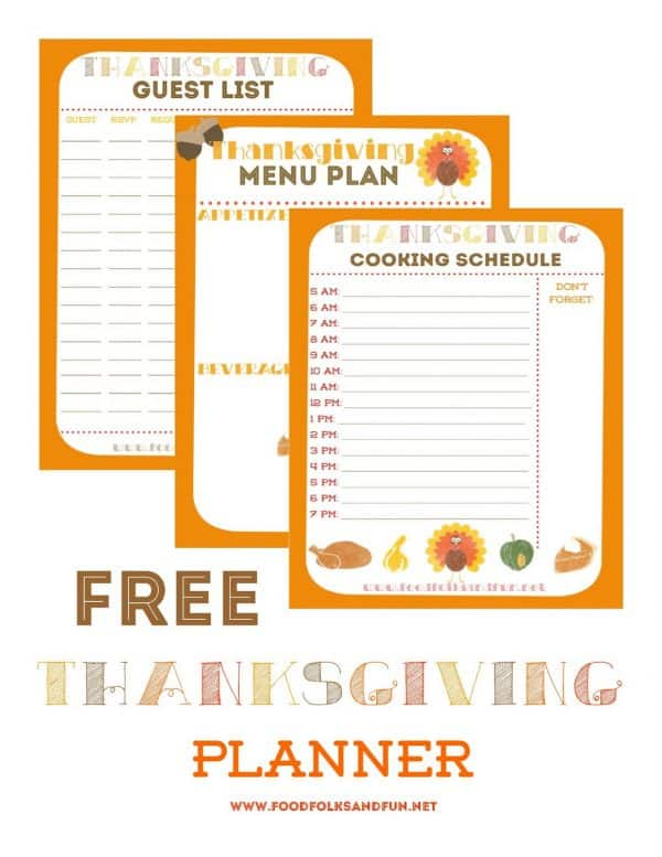 Thanksgiving planner, one of my 25 favorite FREE Thanksgiving printables on DuctTapeAndDenim.com