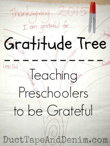 Gratitude Tree, teaching preschoolers to be grateful | DuctTapeAndDenim.com