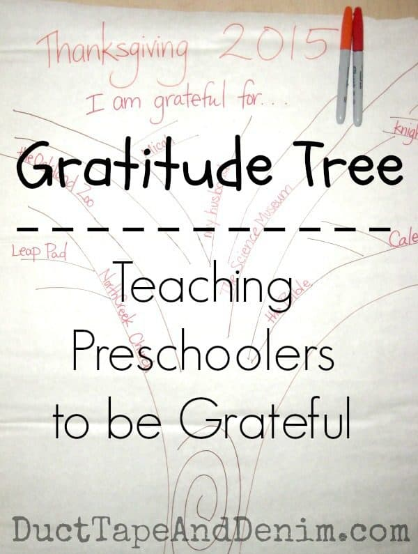 Gratitude Tree, teaching preschoolers to be grateful | DuctTapeAndDenim.com