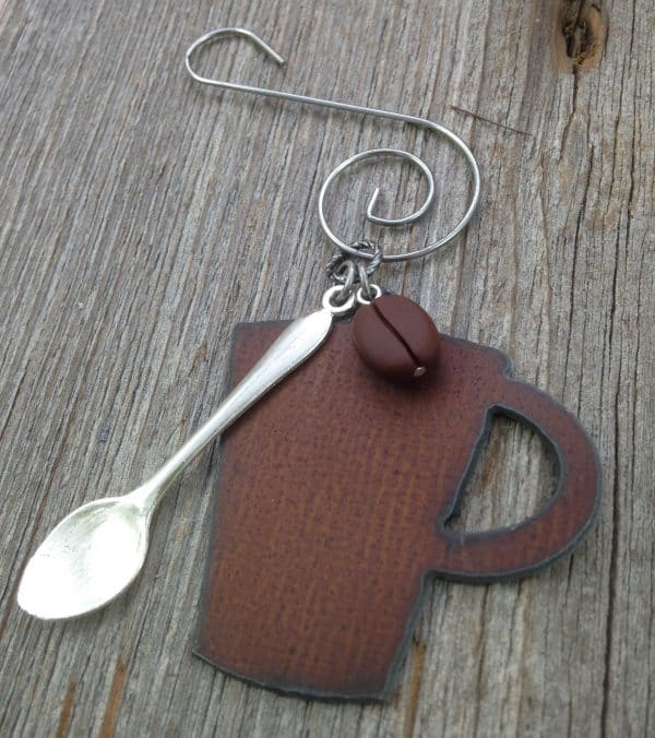 Gift guide for coffee lovers, coffee ornament with mug, spoon, and bean. More gift ideas for coffee lovers on DuctTapeAndDenim.com