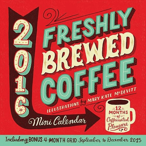 Gift guide for coffee lovers, mini wall calendar. More gift ideas for coffee lovers on DuctTapeAndDenim.com