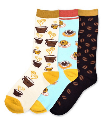 Gift guide for coffee lovers, coffee socks. More gift ideas for coffee lovers on DuctTapeAndDenim.com