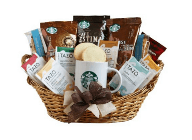 Gift guide for coffee lovers, Starbucks gift basket. More gift ideas for coffee lovers on DuctTapeAndDenim.com
