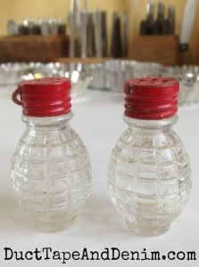 Vintage salt shakers with red lids | DuctTapeAndDenim.com